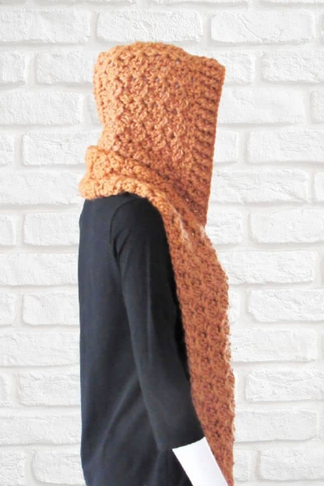 Crochet Pocket Scarf with Hood