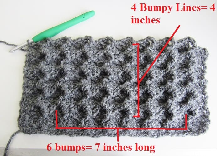 Measuring gauge for the crochet blanket cardigan free pattern