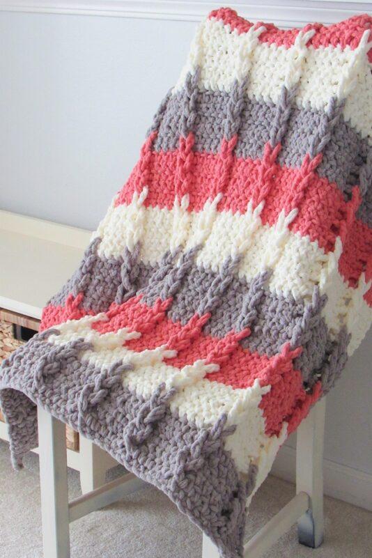 Twisted braids crochet blanket