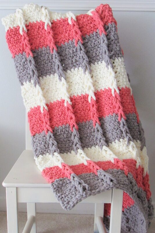 Crochet modified jacob's ladder blanket