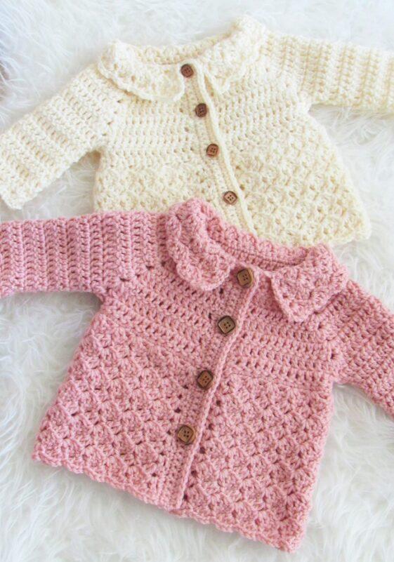 one piece crochet baby cardigan pattern
